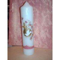 Taufkerze Mädchen Blumenranke rosa,kl. Kreuz,weisse Taube, handarbeit