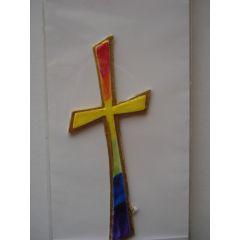 Wachsdekor Kreuz Regenbogenfarben