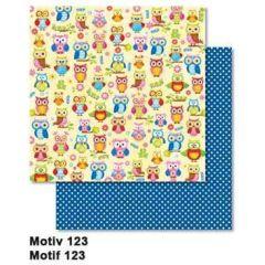 Scrapbooking-Papier: Eule Owls, 30,5 x 30,5 cm, 190g/m2, mit Glitter