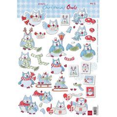 Schneidebogen Decoupage-Blätter Elines Weihnachtseulen 2 A4