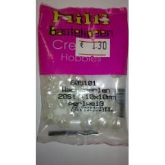 WACHSPERLEN 10x10 mm perlweiß geriffelt