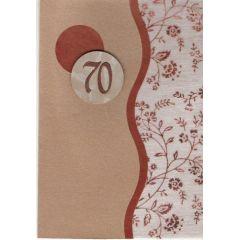 elegante hellbraune Karte mit exclusiven kupferfarbenen Blumendruck