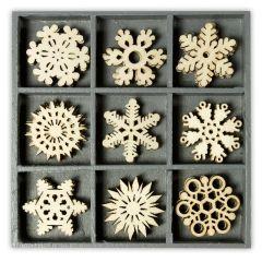 Holzbox Ornament Eiskristalle 10,5X10,5 cm / 45 Stück