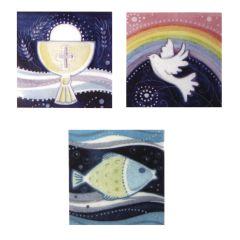 Wachsmotiv christliche Motive 3 Quadrate Taube, Fisch und Kelch