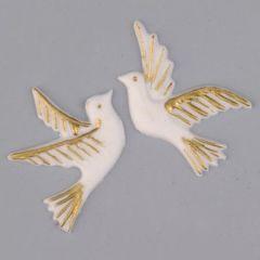 Wachsdekor, Taubenpaar, 40 x 30 mm, 2 Stk., gold/weiß