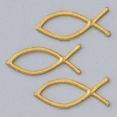 Wachsdekor, Christliche Fische, 40 x 15 mm, 6 Stk., gold