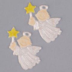 Wachsdekor, Glücksengel, 30 x 40 mm, 2 Stk., perlmutt gelb