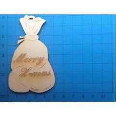 """Geschenkanhänger: Sack 80mm """"Merry X-mas"""" graviert"""