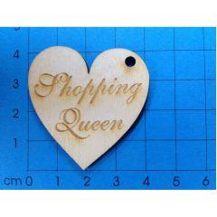 """Geschenkanhänger Herz 40 mm """"Shopping Queen"""" graviert; mit 3mm Loch"""