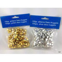 Deko Nuggets Dekosteine Gold und Silber Streudeko Farbauswahl goldene und silberne Deko Nuggets 100g