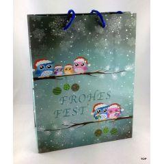 Geschenktüte Papiertüte Winter Eule matt  Weihnachten 23 x 18 x 10 cm