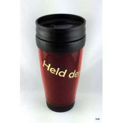 Thermobecher Held der Arbeit rot Kaffeebecher Sprüche sächsisch Becher  DDR Ostalgie