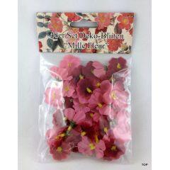 Deko Blüten 48er Set Mille Fleur Streublüten Blümchen eingefärbt in kräftigen lila- und zarten Fliedertönen.