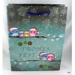 Papiertüten Winter-Eule mattl Weihnachten 18x8x23cm Geschenktasche
