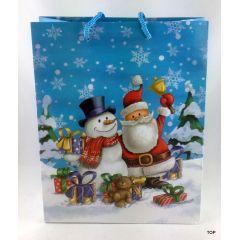Geschenktüte Comic-Weihnacht Papiertüte Geschenkverpackung glänzend Weihnachten 23 x 18 x 10 cm