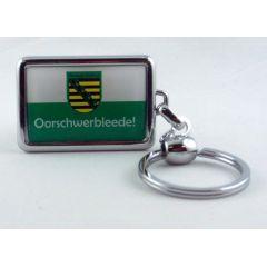 Schlüsselanhänger Sachsen Oorschwerbleede massives Metall 3D Ostprodukt Ossi Spruch