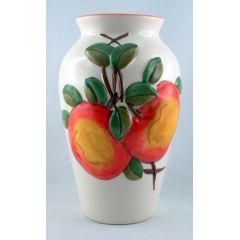 Vase mit früchtedesign Motiven bauchige Form sehr schön passendes Aussehen für Wohnbereich