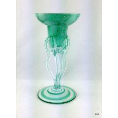 Glas Kerzenleuchter  wunderschön grün-marmoriert auf drei gedrehten Glasstielen