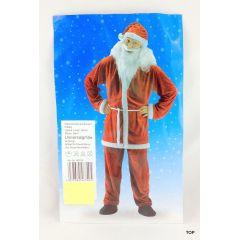 Weihnachtsmann-Kostüm Samt mit Bart und Mütze Jacke Hose Gürtel Universalgröße 5-teilig