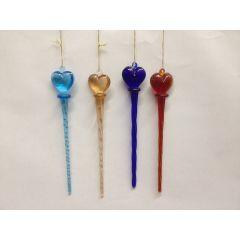 Glastropfen  zum Hängen gedreht am Kopfteil mit niedlichem Herz 4 verschiedene Farben