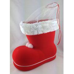 Nikolausstiefel rot mit Samt Tüllmanschette eizeln zu Weihnachten ca. 20 cm hoch