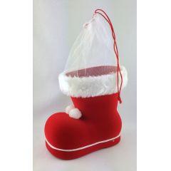 Nikolausstiefel rot mit Samt überzogen Tüllmanschette zu Weihnachten ca. 9,5 cm hoch