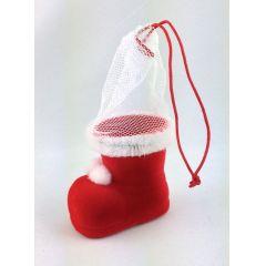 Super süße winzige Nikolausstiefel Mini Weihnachtsstiefel, Stiefel  im samtigen rot mit Netz und Hänger