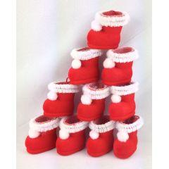 Nikolausstiefel 10 witzige Stiefel ca.3,2 cm im samtigen rot zum Befüllen Weihnachten mit Tüllmanschette