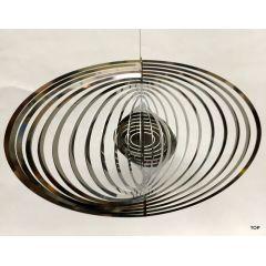 Spirale Edelstahl Hochglanz poliert Windspiel Ovalform Rostfrei Höhe 12x20 cm
