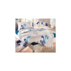 Auro Hometextile, 1 Duvet 160x210 cm und 1 Pfulmen 65x100 cm, blau/ weiß