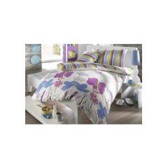 3 tlg. Bettwäsche, 1 Duvet 200x210 cm und 2 Kissen 65x65 cm, türkis/ violet