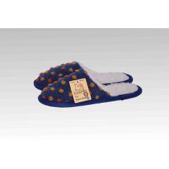 Pantoffel Wolle Noppen blau 36/37