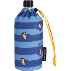 Flasche 0,6 Liter Rabe blau Glasflasche Trinkflasche Isolierflasche Germany Thermobecher Glas