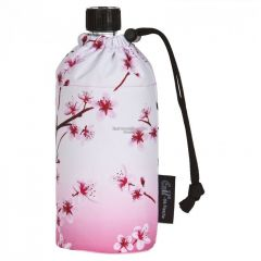 Flasche 0,6 Liter Kirschblüte rosa Glasflasche Trinkflasche Isolierflasche Germany Glas