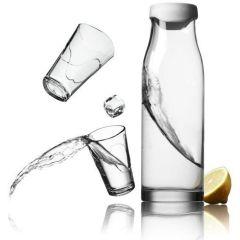 Wasserkaraffe mit 2 Gläser weiß Wasserflasche Glas Set Karaffe Glaskaraffe Wasserkrug Wasserbehälter