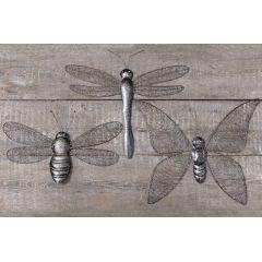 Wandobjekt Insekten Set 3-teilig Libelle Schmetterling Wanddeko Wand-Objekt Dekoration Wand Objekt