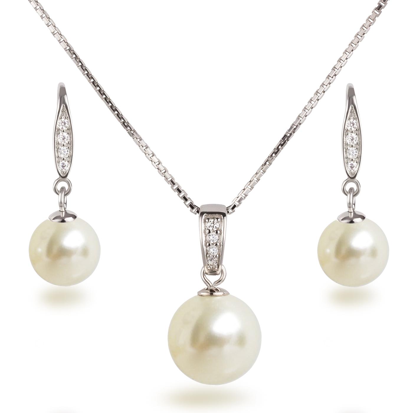 Perlen Schmuckset, Ohrhänger und Halskette mit Anhänger, besetzt mit ...