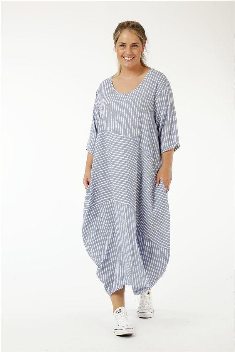 lange Lagenlook Kleider feine Streifen von AKH Fashion