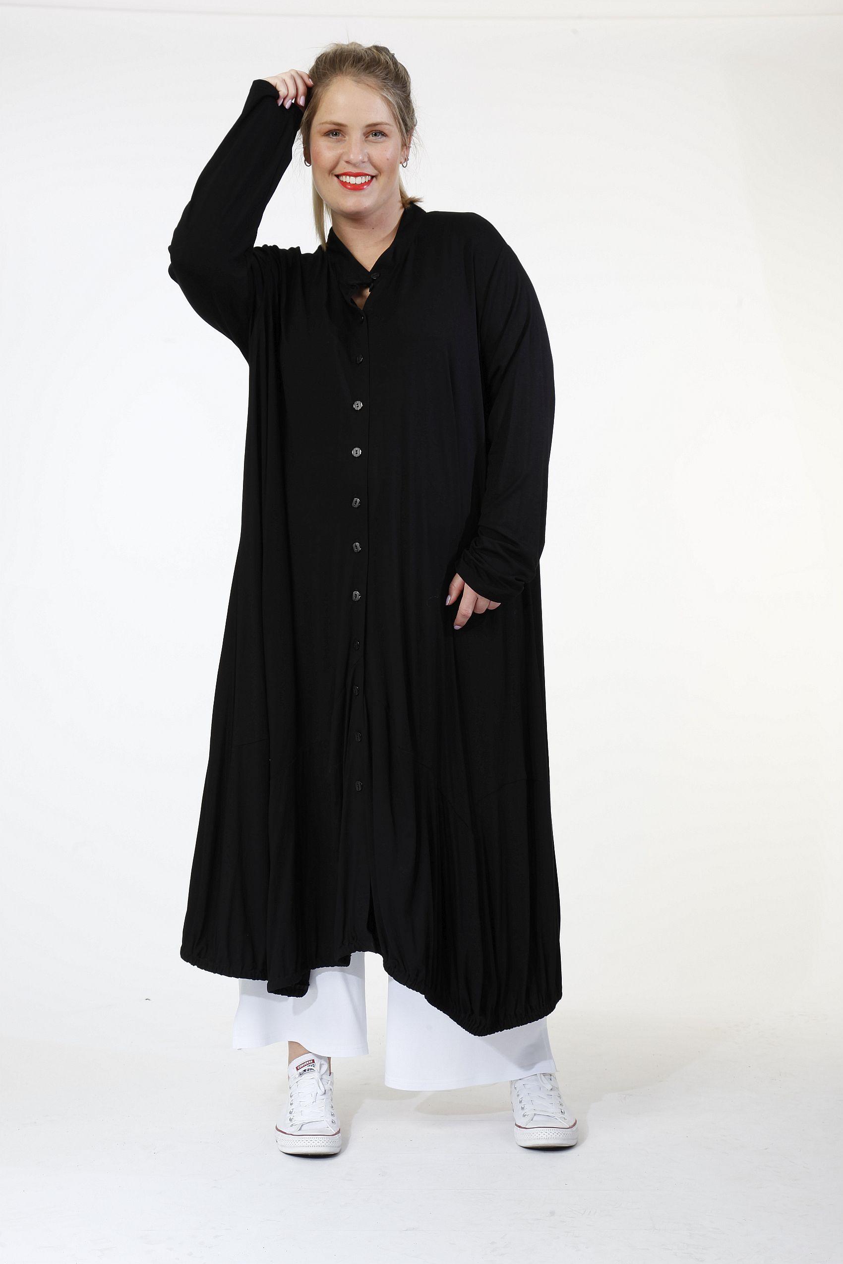 Lagenlook Mantel-Kleid Ballonform schwarz von AKH Fashion