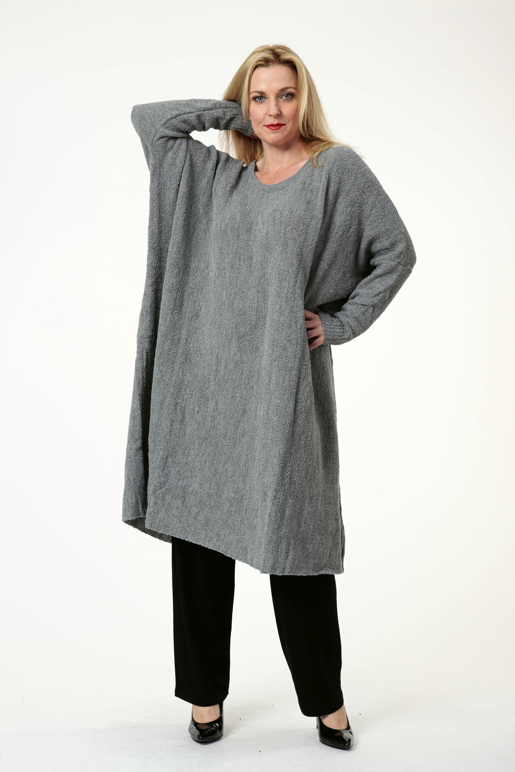 Lagenlook Pullover-Kleider grau oder petrol große Größen
