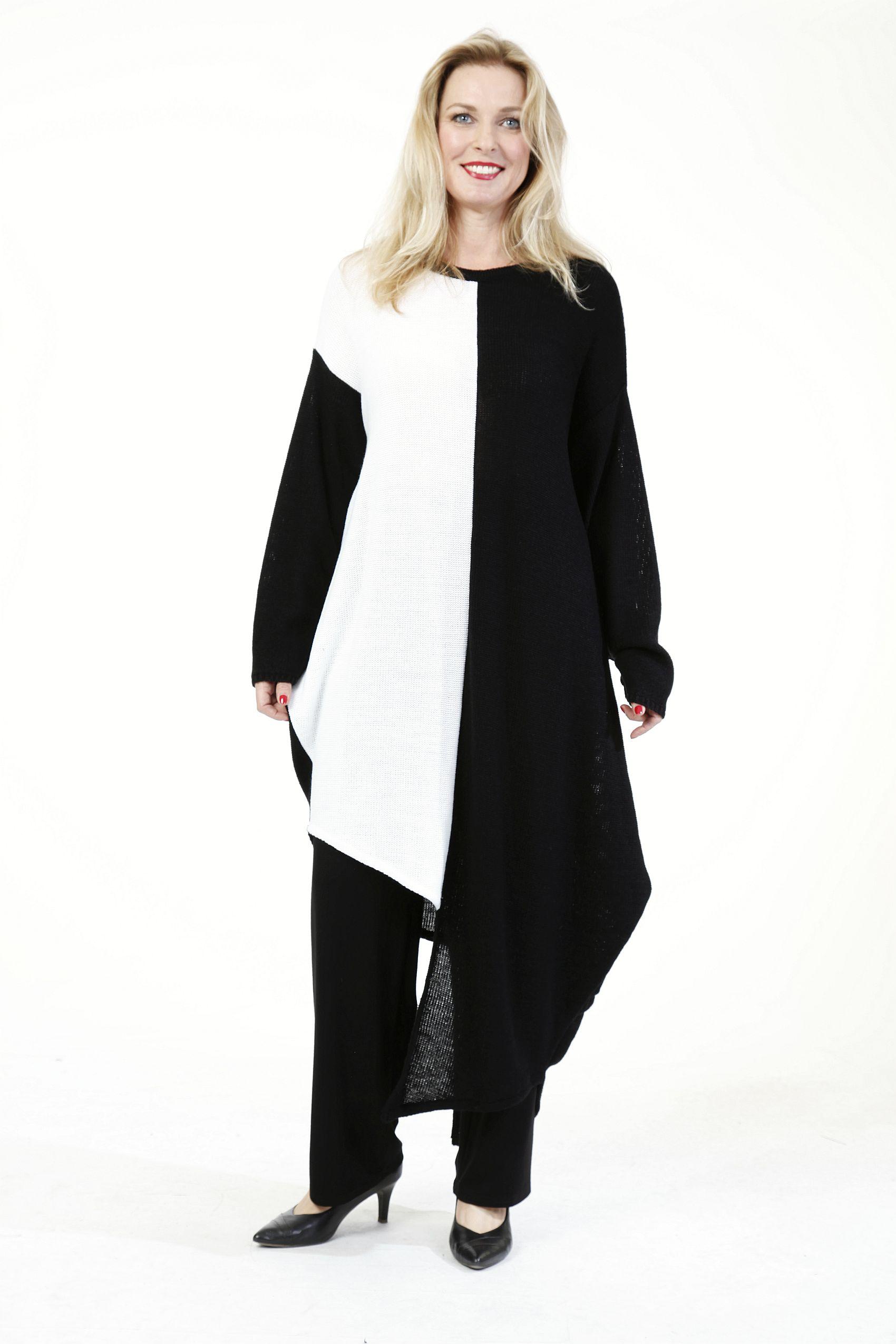 ausgefallene Lagenlook Pullover-Kleider schwarz-weiß von ...