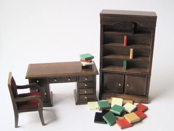 modernes puppenhaus arbeitszimmer 1 12 puppenhausm bel. Black Bedroom Furniture Sets. Home Design Ideas
