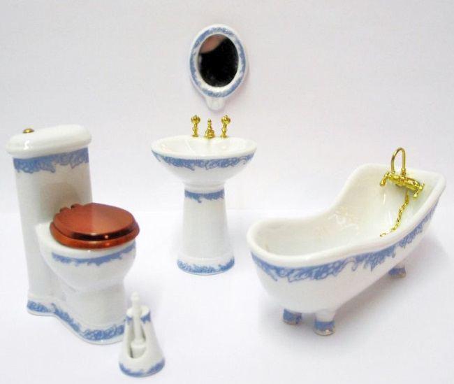 badezimmer blaues rankenmotiv porzellan ausstattung 5 teile puppenhausm bel 1 12. Black Bedroom Furniture Sets. Home Design Ideas
