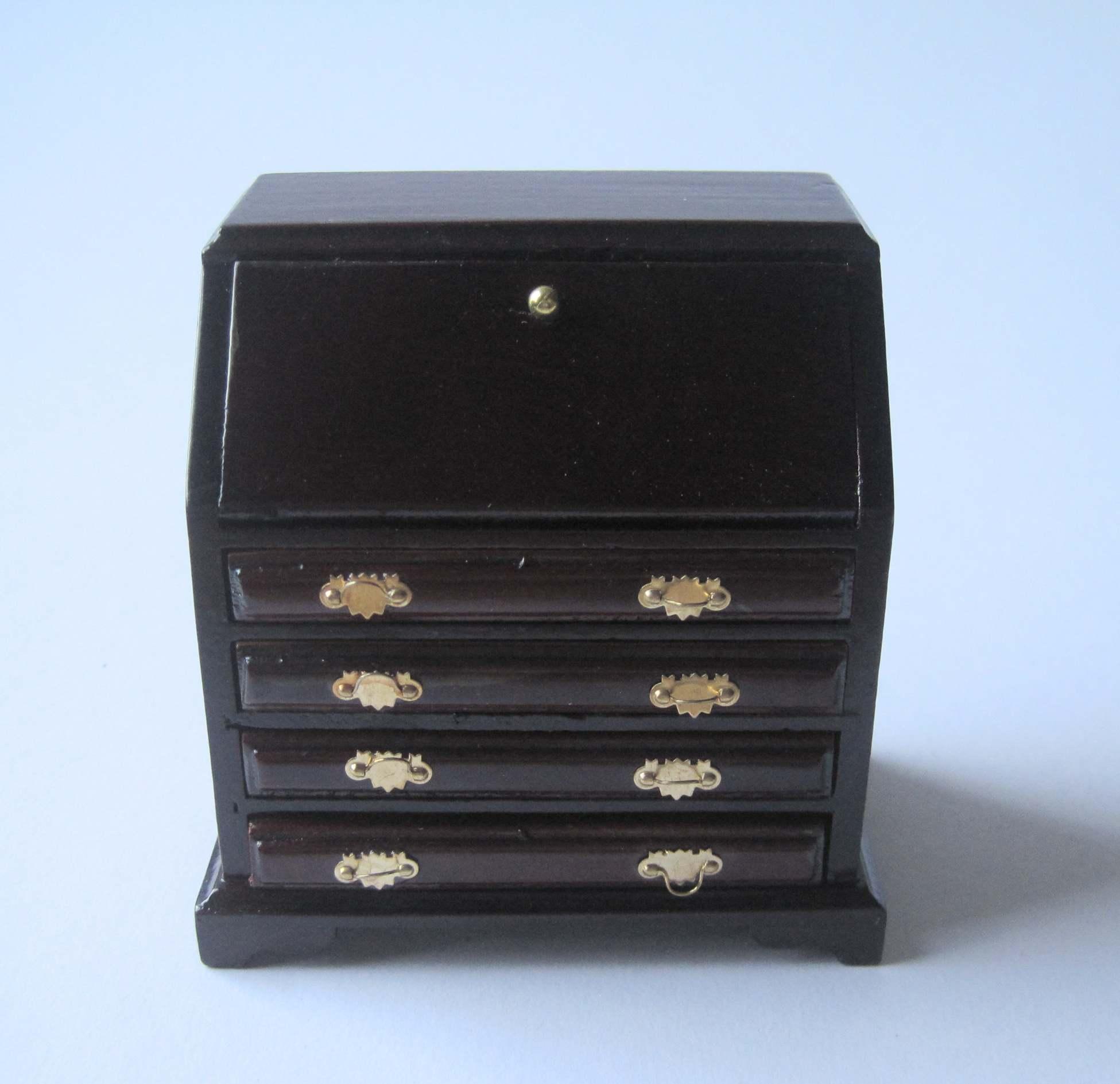 sekret r schreibtisch braun puppenhaus moebel wohnzimmer miniatur 1 12. Black Bedroom Furniture Sets. Home Design Ideas