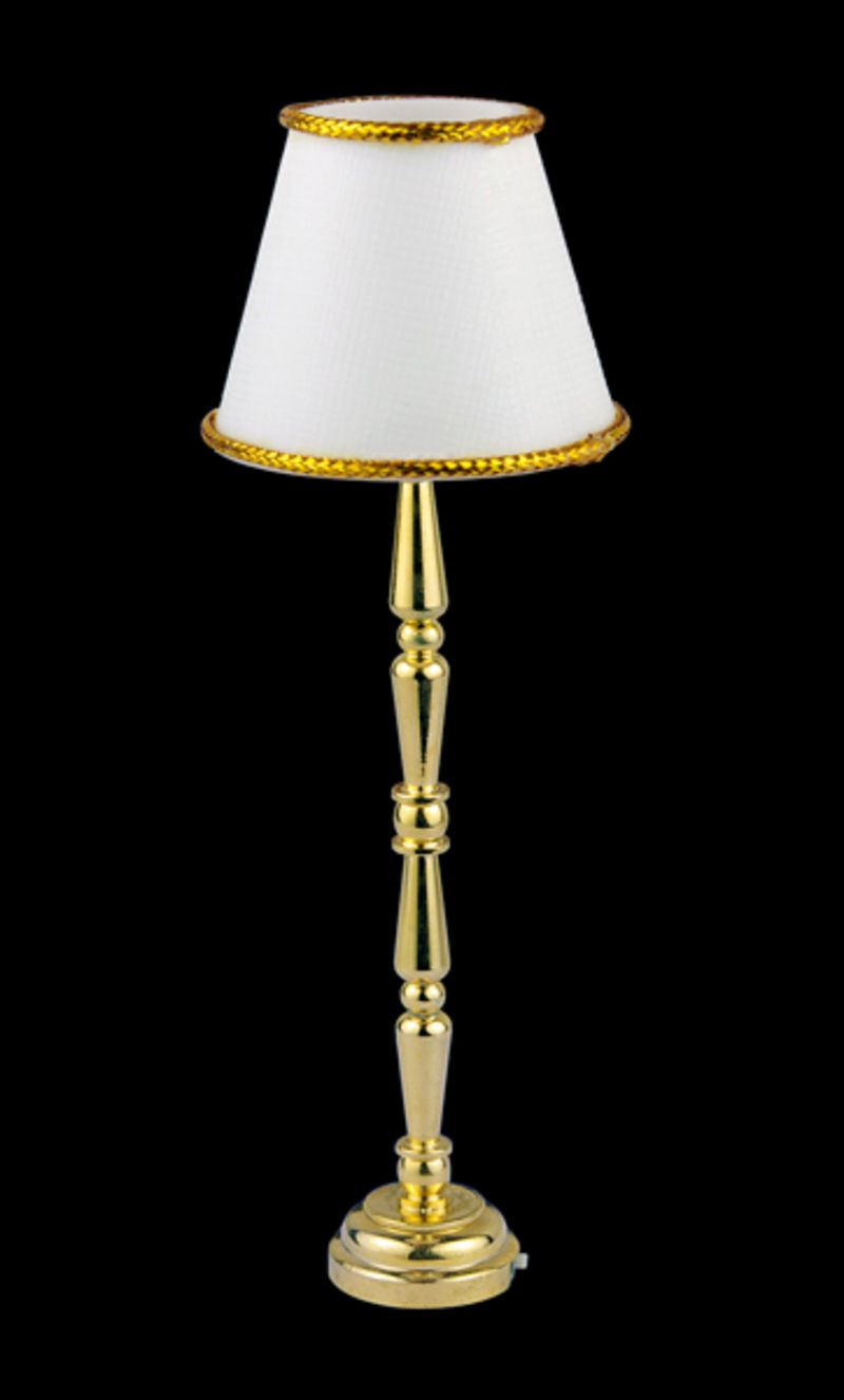 stehlampe led weiss puppenhaus beleuchtung miniaturen 1 12. Black Bedroom Furniture Sets. Home Design Ideas