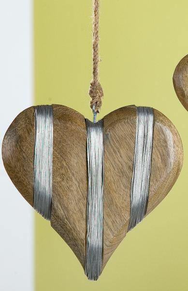 gilde dekoh nger herz aus mangoholz mit draht 17 cm lafeo. Black Bedroom Furniture Sets. Home Design Ideas