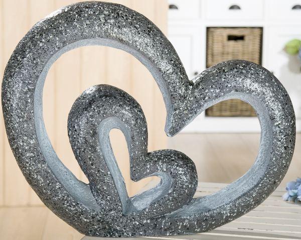 Gilde Gartendeko Gartenskulptur Herz In Herz Aus Magnesia
