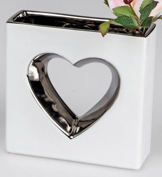 formano deko herz vase wei silber 15 cm. Black Bedroom Furniture Sets. Home Design Ideas