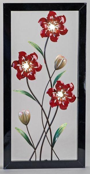 extravagante wanddeko blume mit led beleuchtung links 40 x 80 cm wanddekoration. Black Bedroom Furniture Sets. Home Design Ideas