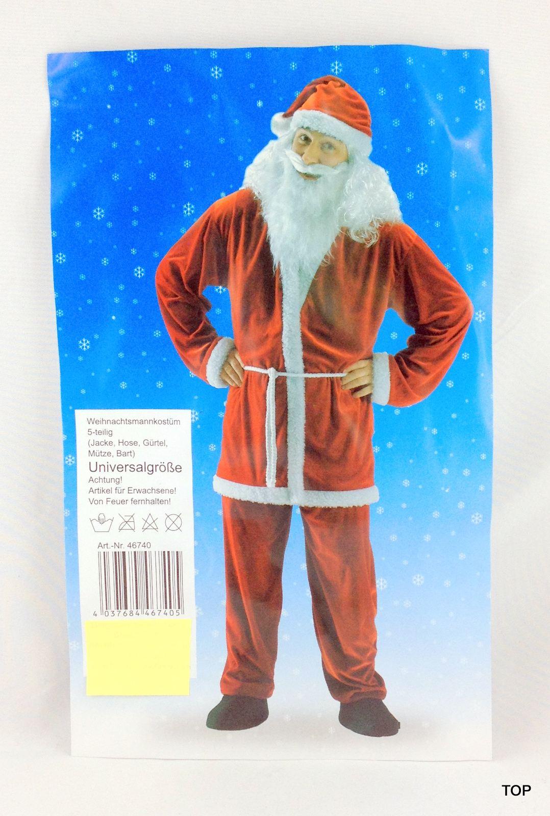 5 teiliges weihnachtsmann kost m samt mit bart und m tze jacke hose g rtel universalgr e. Black Bedroom Furniture Sets. Home Design Ideas